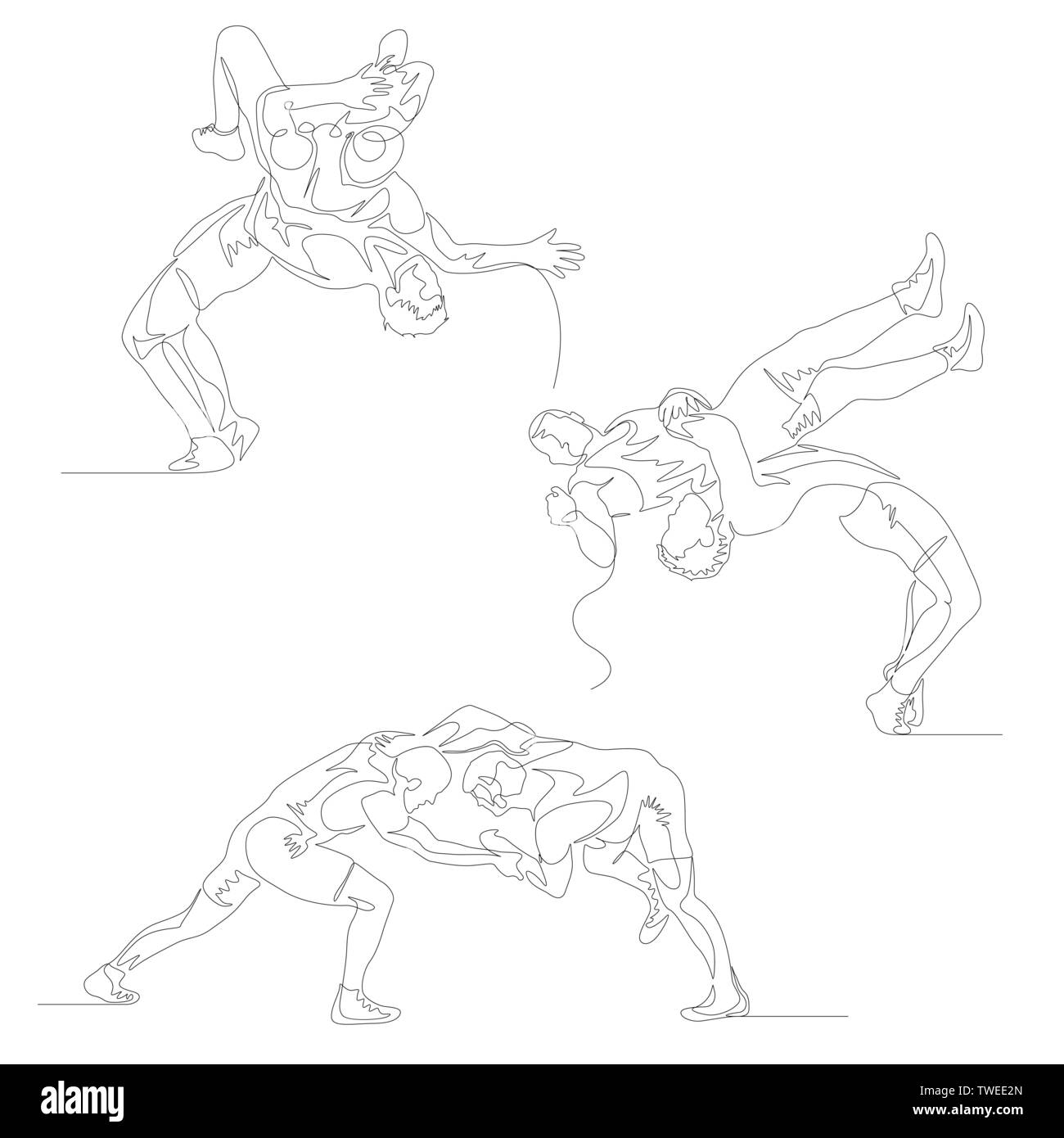 Continuous one line wrestlers set. Wrestler doing suplex. Wrestling theme. Summer Olympic Games. Vector - Stock Vector