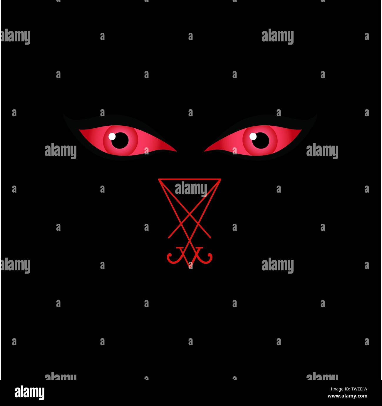 Eyes of the devil with sigil of Lucifer - Stock Image