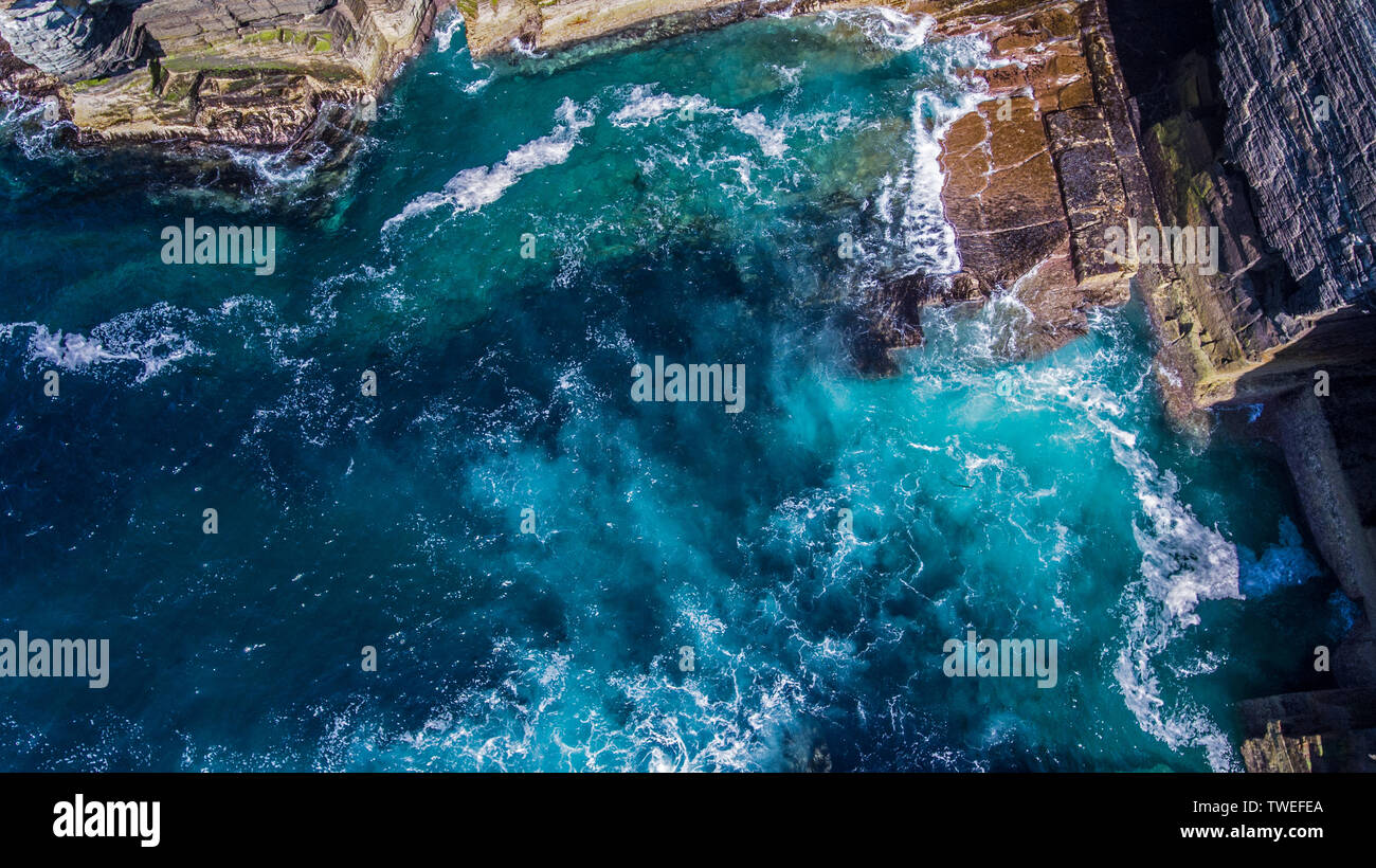 Taken above the cliffs on the Orkney islands in northeast Scotland.  Yesnaby is an area in Sandwick, on the west coast of Orkney Mainland, Scotland. Stock Photo