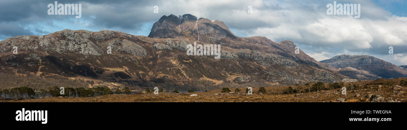 Slioch from the shores of Loch Maree, Scotland - Stock Image