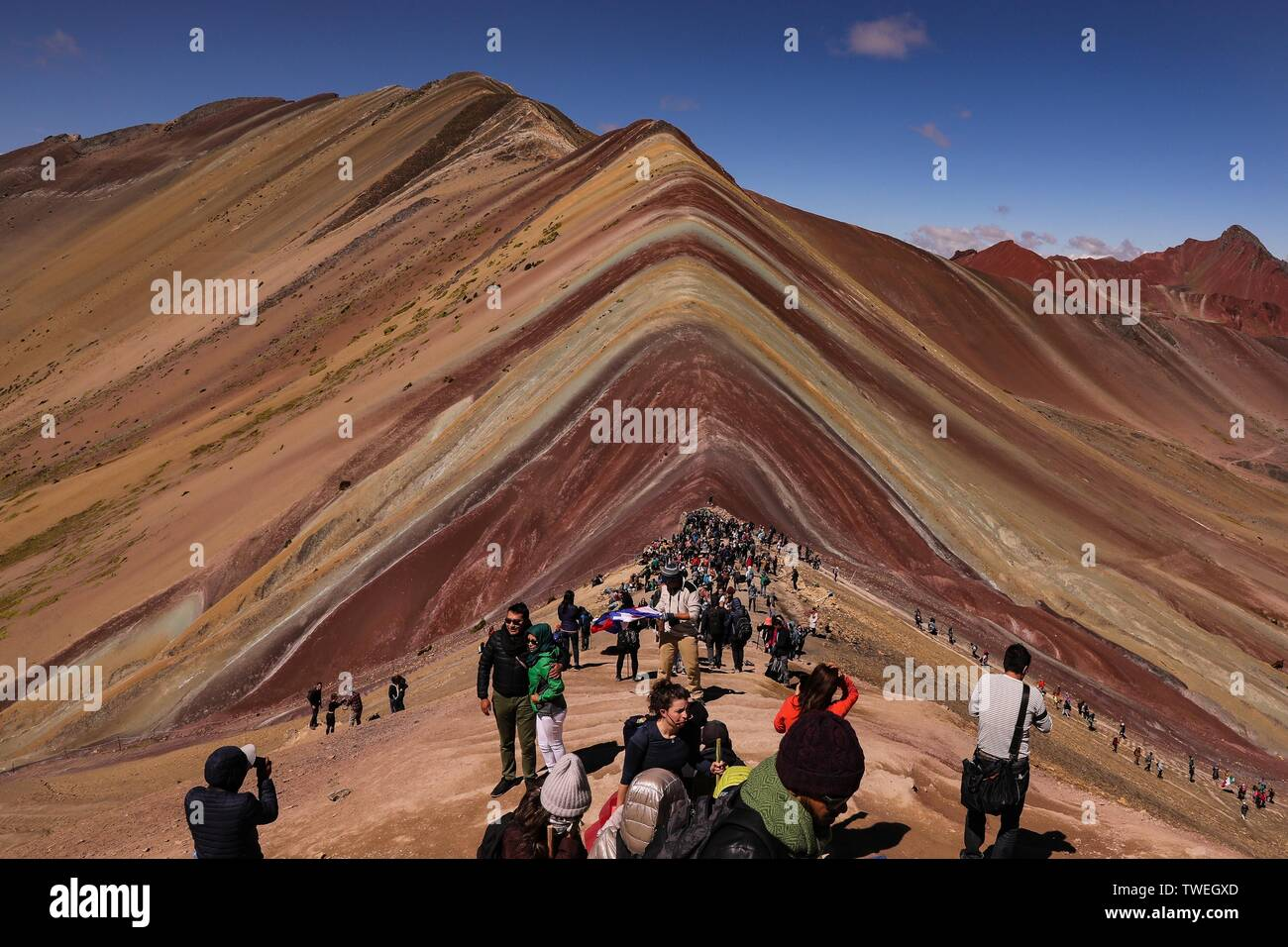 02 May 2019 Peru Cusco The Vinicunca Or The Rainbow Mountain With A Height Of 5200