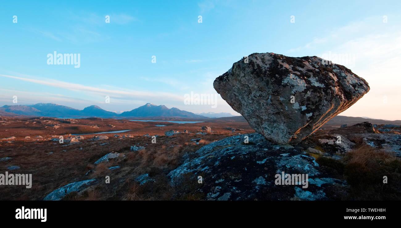 Glacial erratic boulder in Wester Ross, Highland Scotland - Stock Image