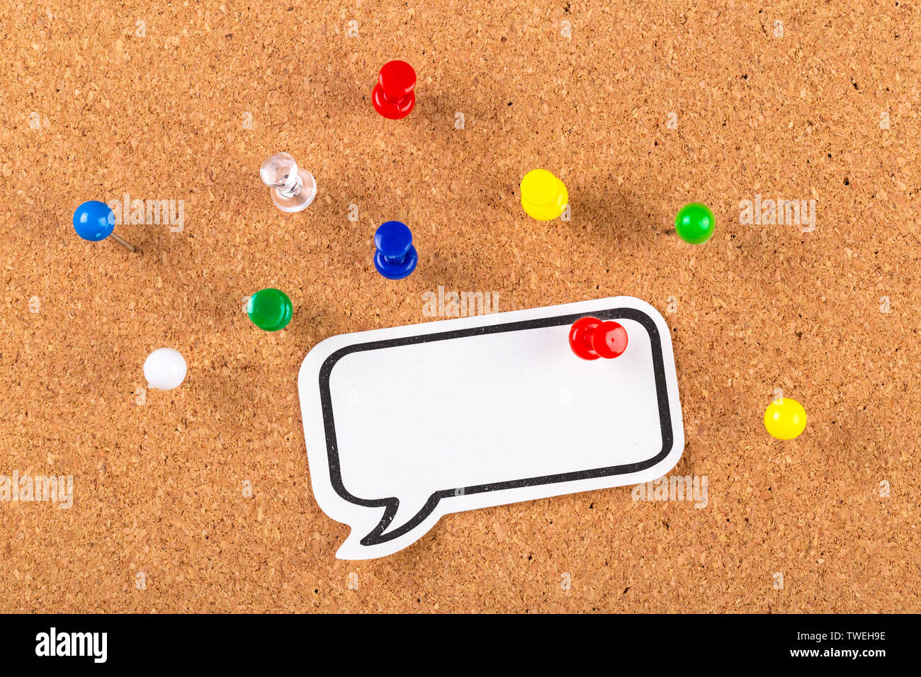 The cork board with blank notes - Stock Image