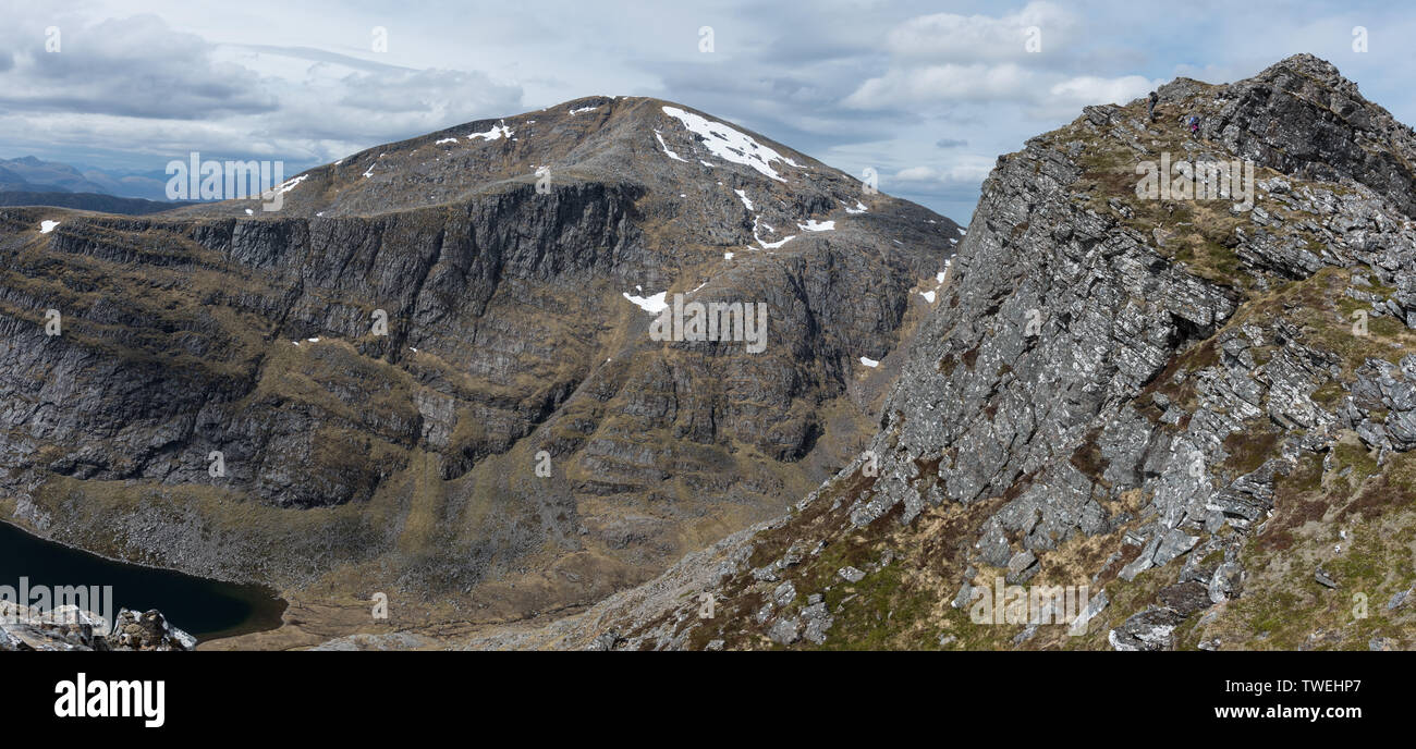 Beinn Dearg and Loch a Choire Ghranda from the southern cliffs of Cona Mheall - Stock Image