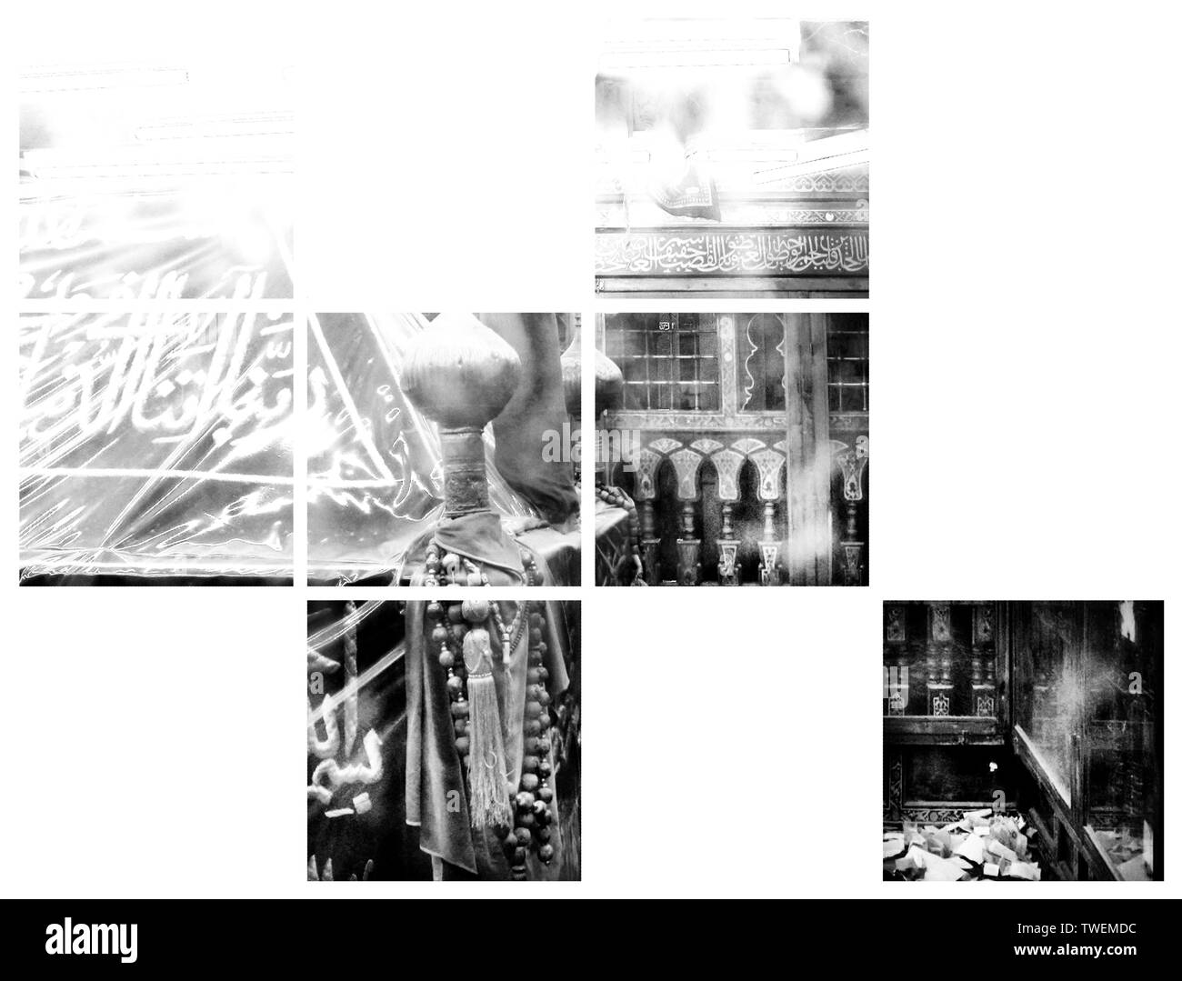 Installation of photographs by photographer Eddie Gerald depicting Imam Muhammad al Shafi'i mausoleum who was a Muslim theologian founder of Usul al-Fiqh Islamic study located in Cairo Egypt - Stock Image