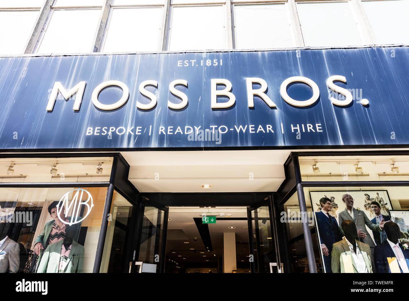 Moss Bros fashion store, Plymouth, Devon, UK, England, Moss Bros menswear, Moss Bros sign, Moss Bros shop, Moss Bros, Moss Bros UK, Moss Bros mens - Stock Image