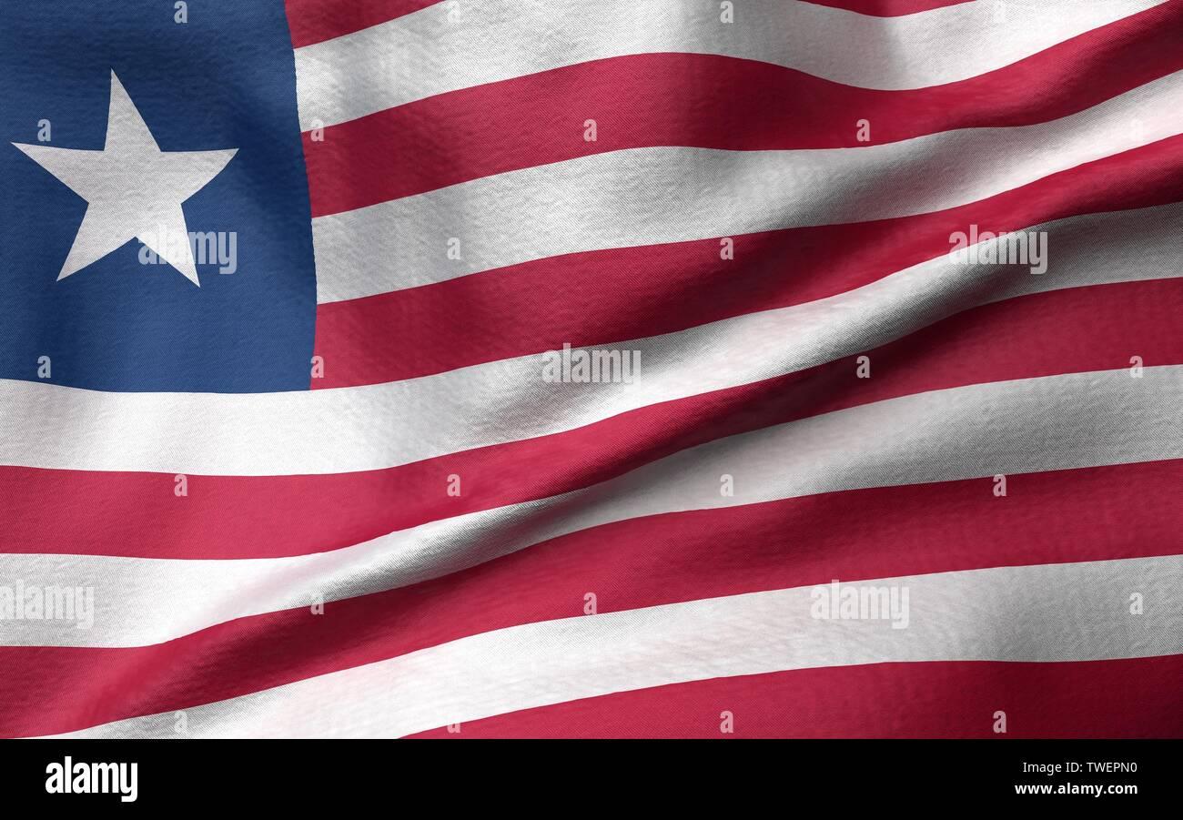 3D Illustration of Liberia Flag - Stock Image