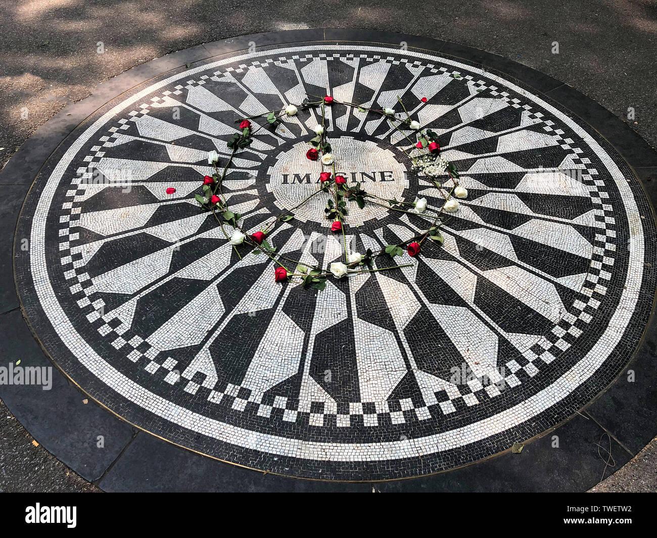 John Lennon's Imagine memorial, Strawberry Fields Forever, Central Park, New York City, New York, USA Stock Photo