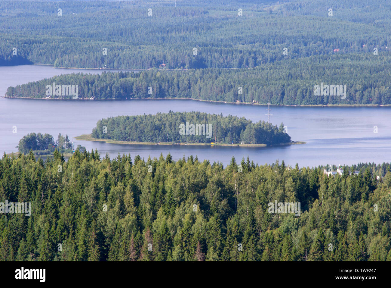 Beautiful view of Kuopio from the Puijo tower nature green and water - Stock Image