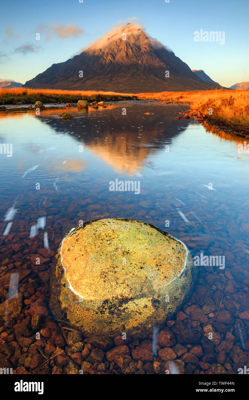 A boulder in the River Etive on Rannoch Moor. - Stock Image
