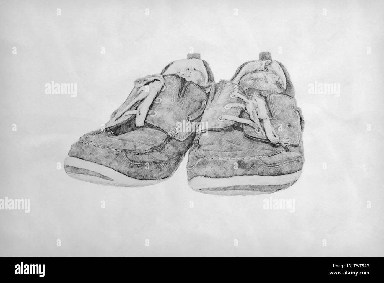 Pencil drawing of a pair of old worn-out lace-up shoes Stock Photo