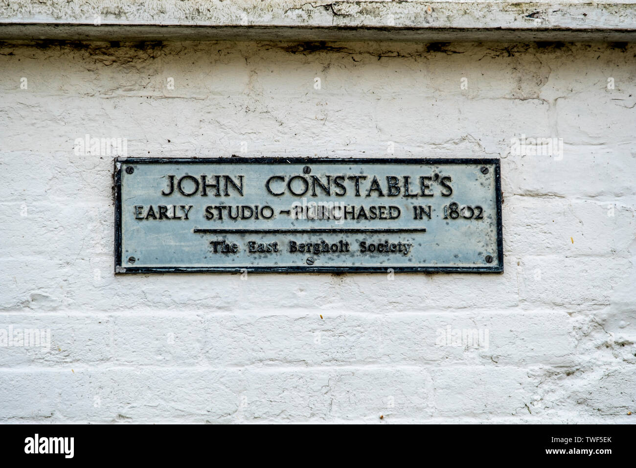 Sign on a cottage which was once the studio of the famous painter John Constable. Stock Photo