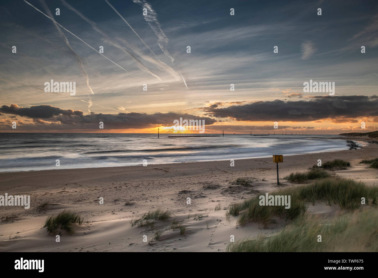 Morning sunrise at Sea Palling in Norfolk. - Stock Image