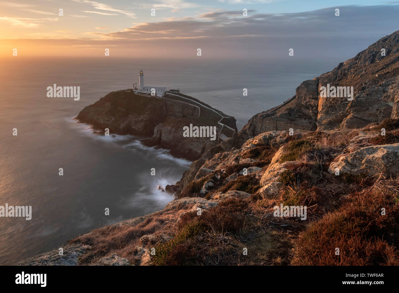 The famous south stack lighthouse on Angelsey in North Wales. - Stock Image