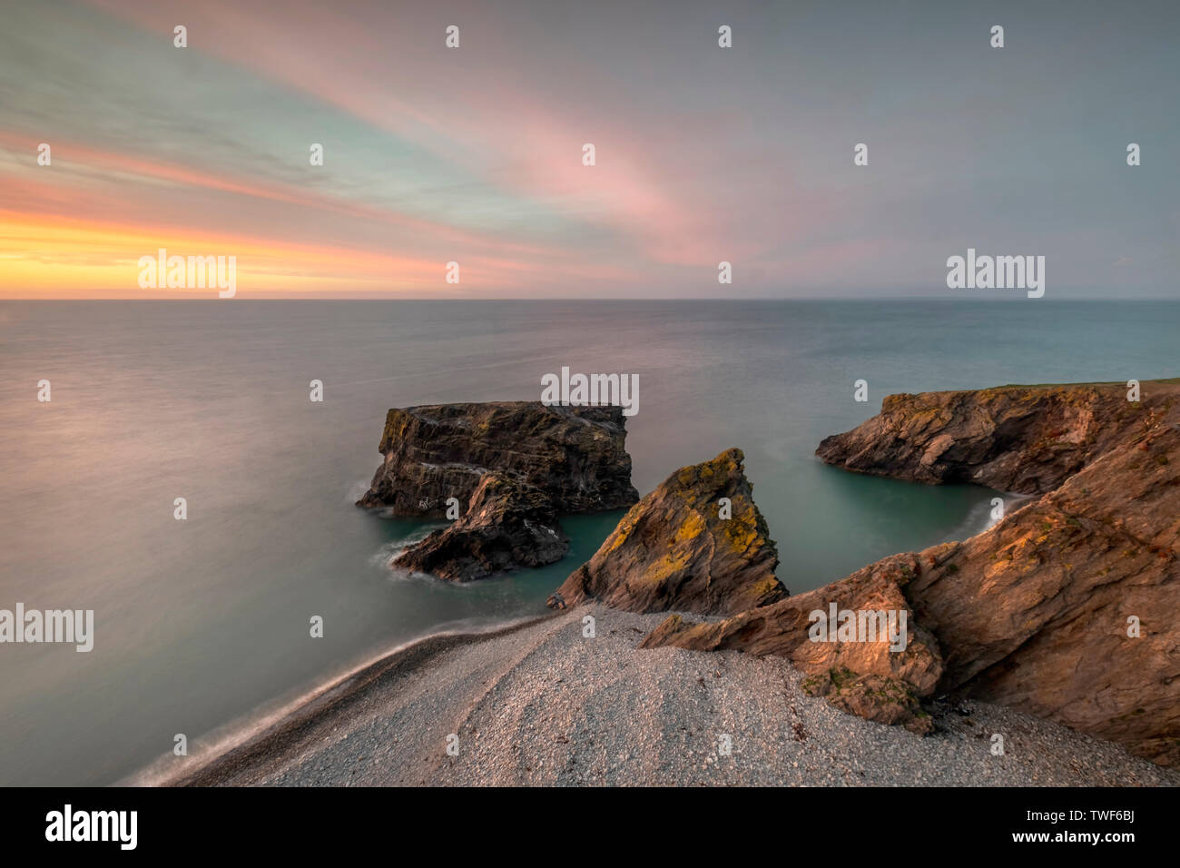 Trefor rock Pinicle at Sunset - Stock Image
