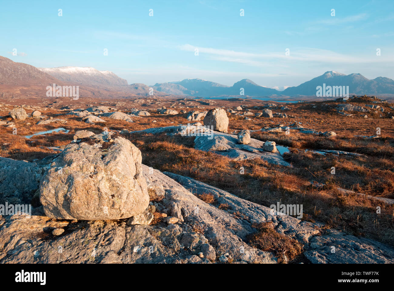 Glacial erratic boulders in Wester Ross, Highland Scotland - Stock Image