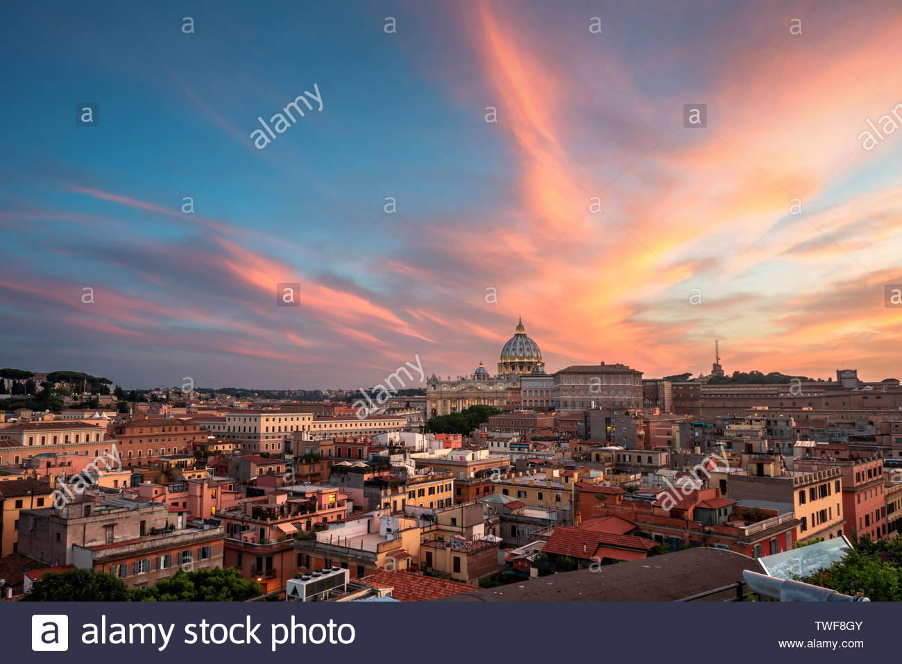 Aerial view of Vatican City at sunset. Drone point of view. - Stock Image