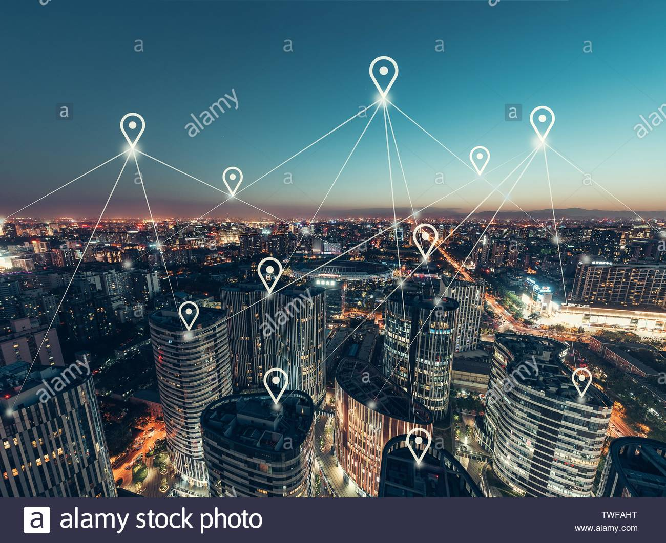 Aerial View of the Network of the Office Building Stock Photo