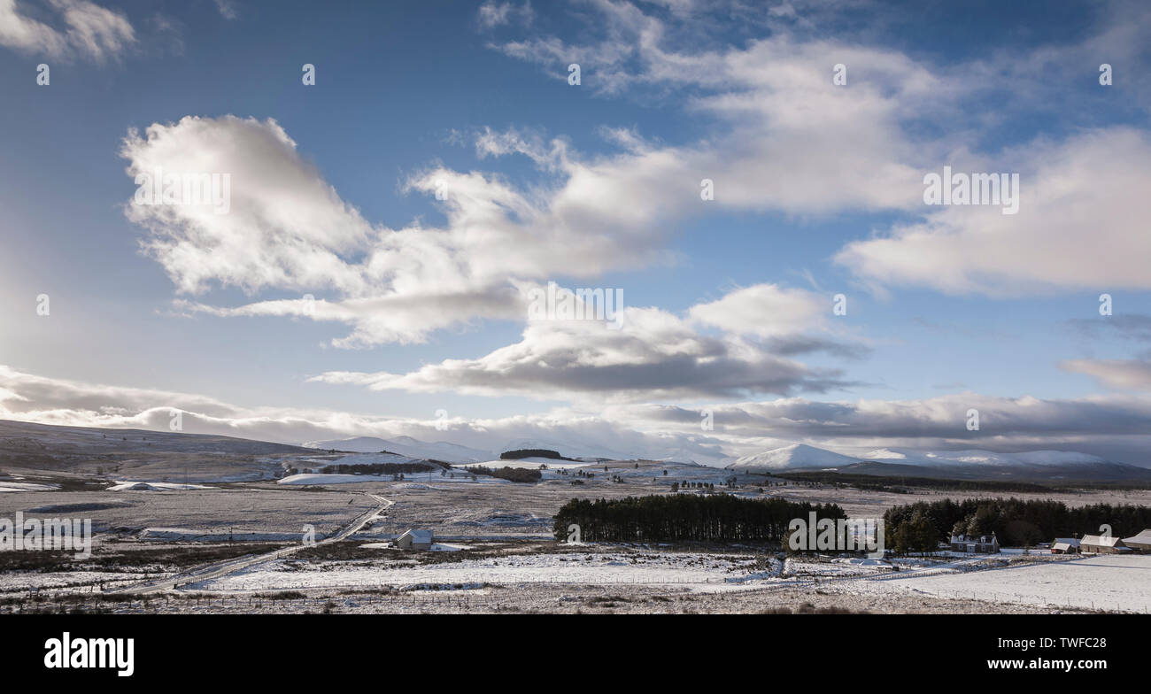View over the Braes of Abernethy and the Cairngorms in Scotland. - Stock Image