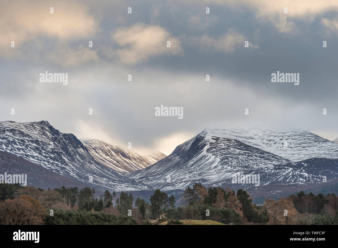 Lairig Ghru mountain pass in the Cairngorms National Park of Scotland. - Stock Image