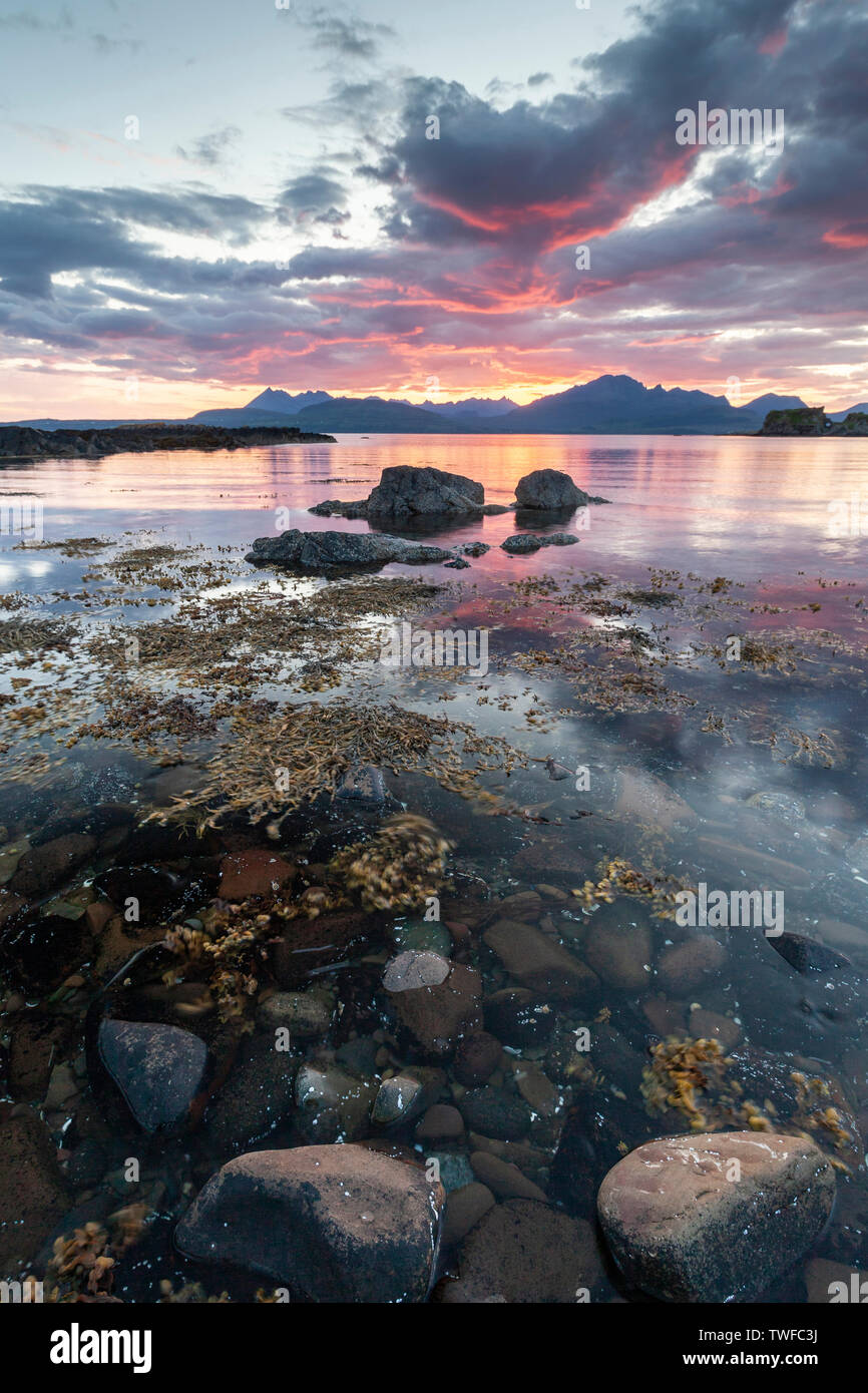 Loch Eishort and the Cuillin hills on the Isle of Skye. - Stock Image