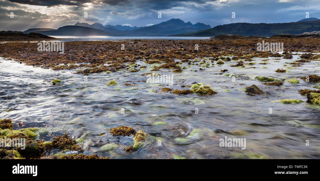 Loch Eishort and the Cuillin hills at Ord on the Isle of Skye. - Stock Image