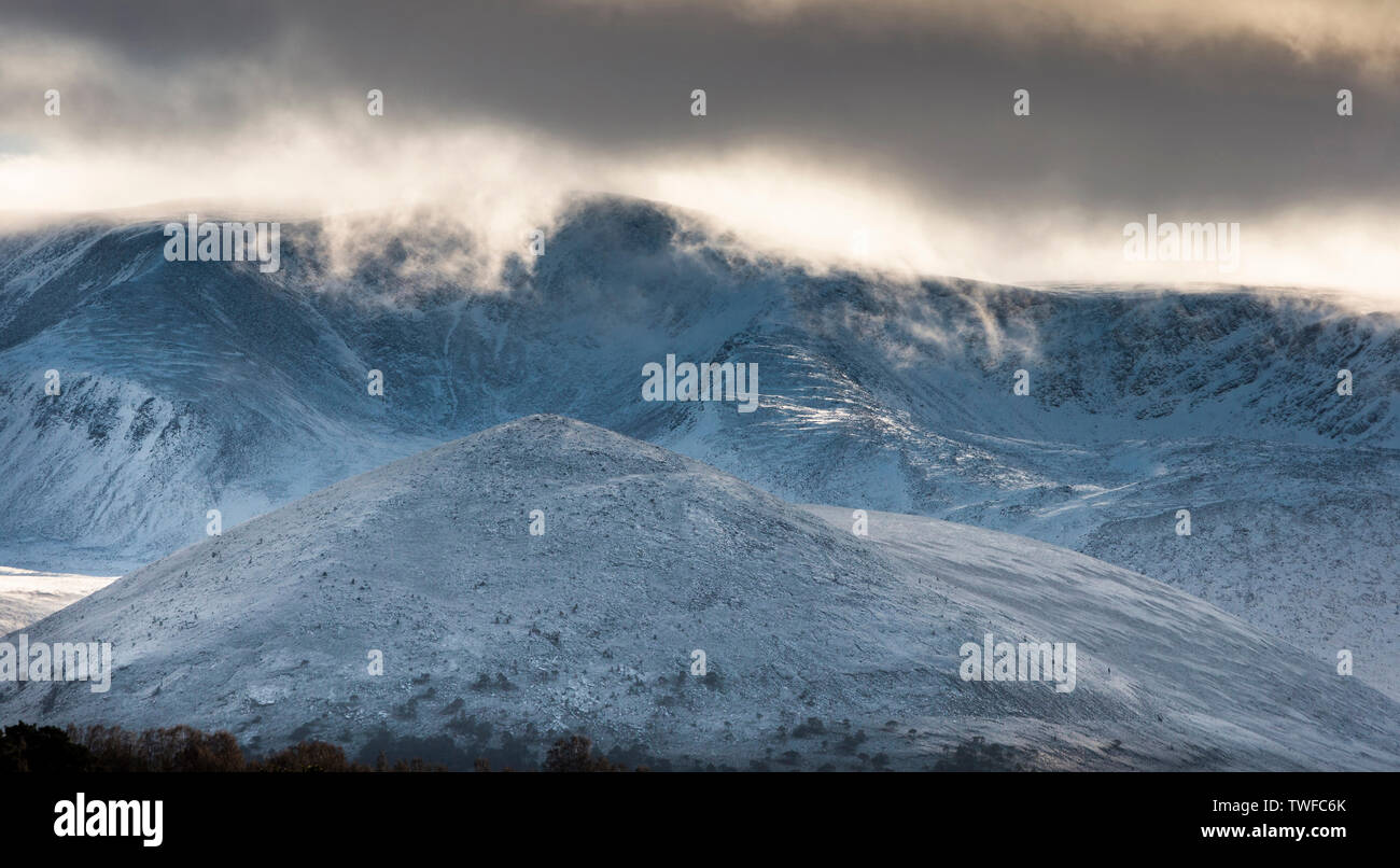 Carn Eilrig and Cairngorm at Glen More in the Cairngorms National Park of Scotland. - Stock Image