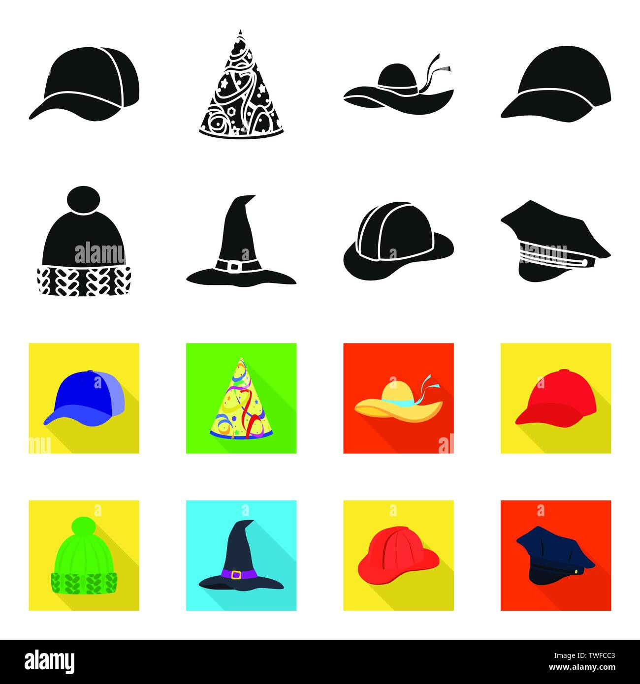 Isolated object of clothing and cap symbol. Collection of clothing and beret stock symbol for web. - Stock Vector
