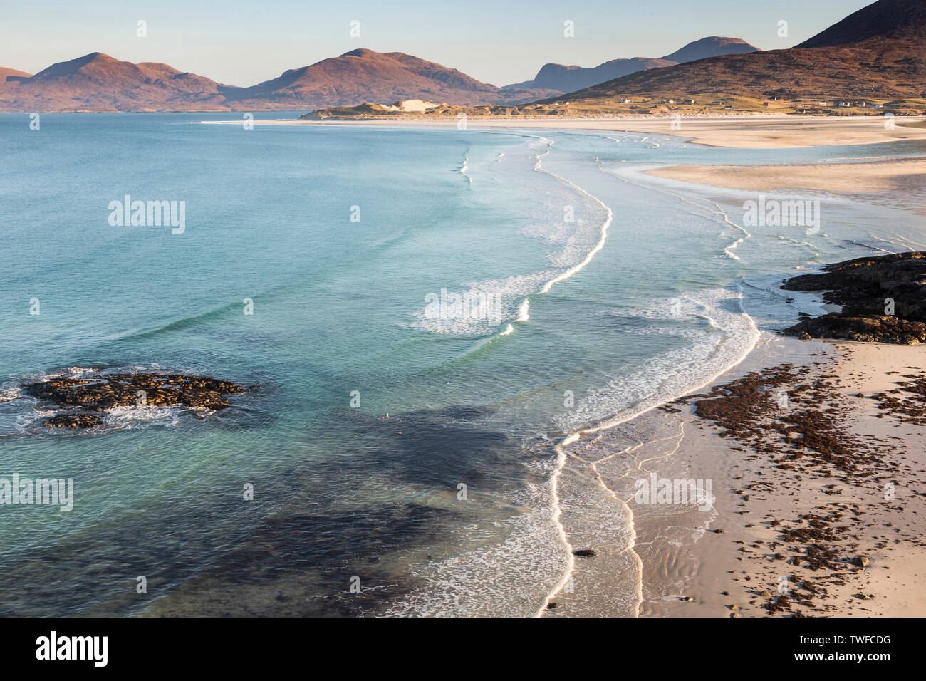 Seilebost beach on the Isle of Harris in the Outer Hebrides. - Stock Image