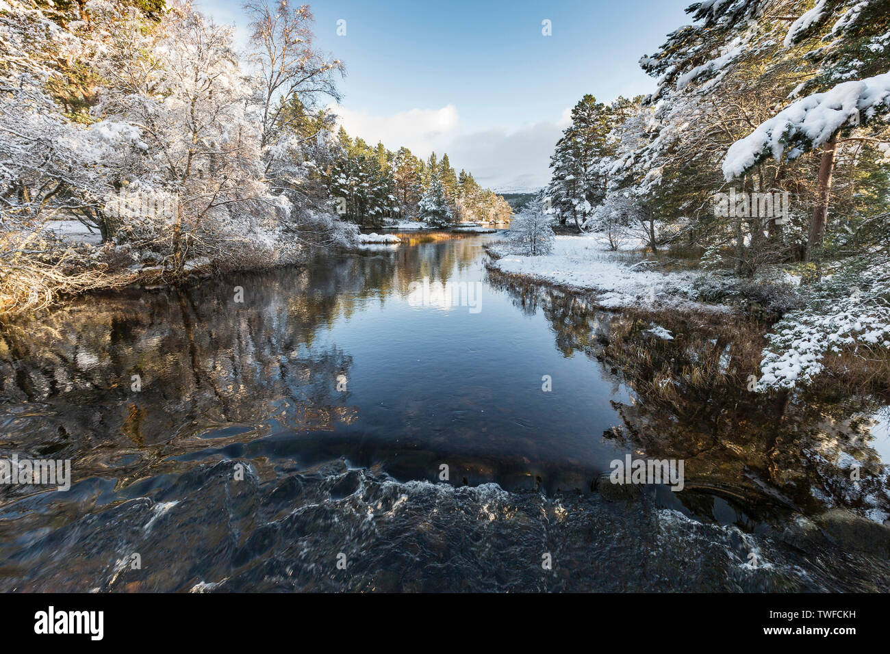 River Luineag flowing into Loch Morlich in the Cairngorms National Park of Scotland. - Stock Image