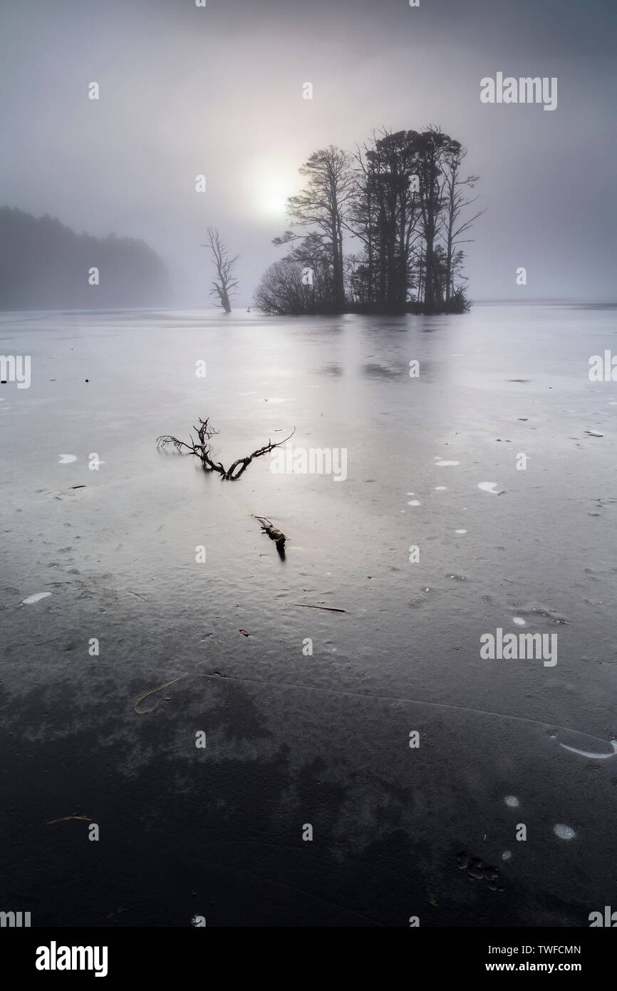 Misty morning on Loch Mallachie in the Cairngorms National Park of Scotland. - Stock Image