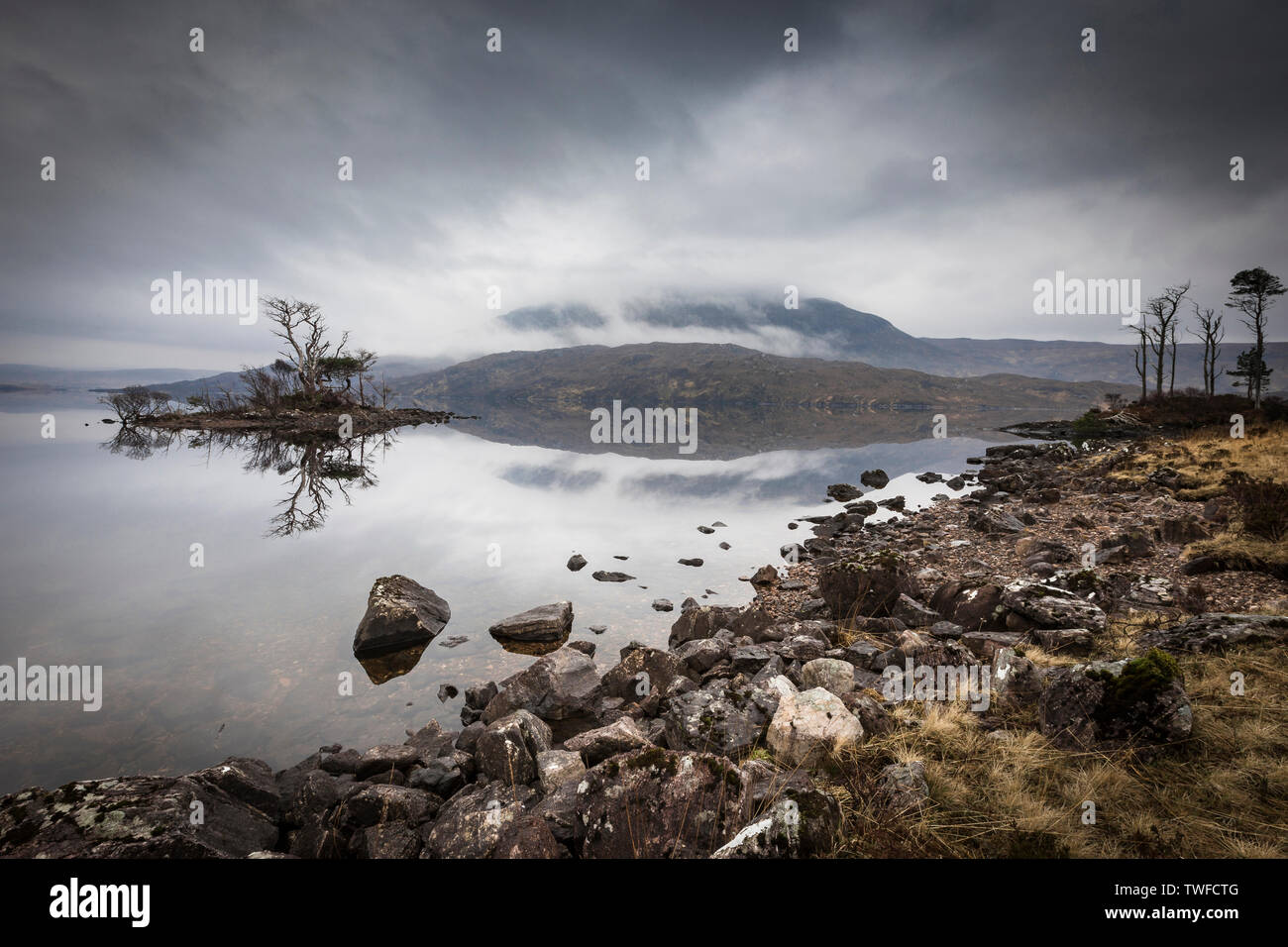 Loch Assynt in the Highlands of Scotland. - Stock Image