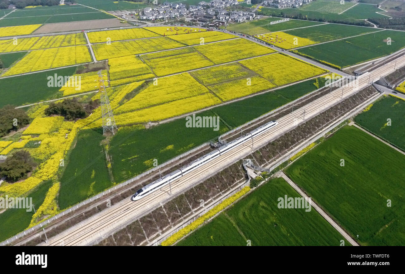 (190620) -- CHENGDU, June 20, 2019 (Xinhua) -- Aerial photo taken on March 11, 2019 shows a train running on the Chengdu-Ya'an railway in Chongzhou City, southwest China's Sichuan Province. The Chengdu-Ya'an railway, an important part of the Sichuan-Tibet railway, has a length of 140 kilometers and was put into operation on Dec. 28, 2018. Ya'an, a region connecting the Sichuan basin and the Qinghai-Tibet plateau, played a vital role during the ancient times for the Tea Horse Road between Sichuan and Tibet. As a result, the making of Tibetan tea has been passed down through generations and list - Stock Image