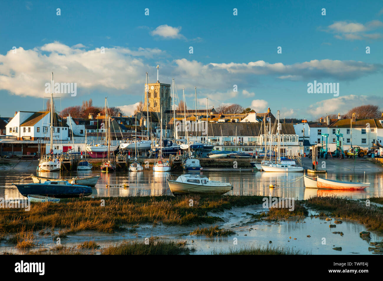 Winter sunset on river Adur in Shoreham-by-Sea. Stock Photo