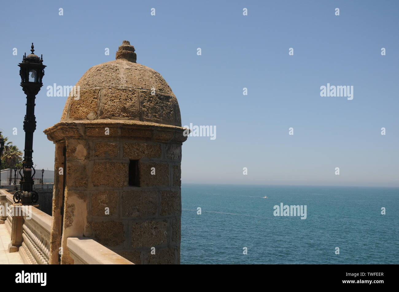 Old Watchtower,  scarabs  in Alameda Apodaca, Cadiz Bay - Stock Image