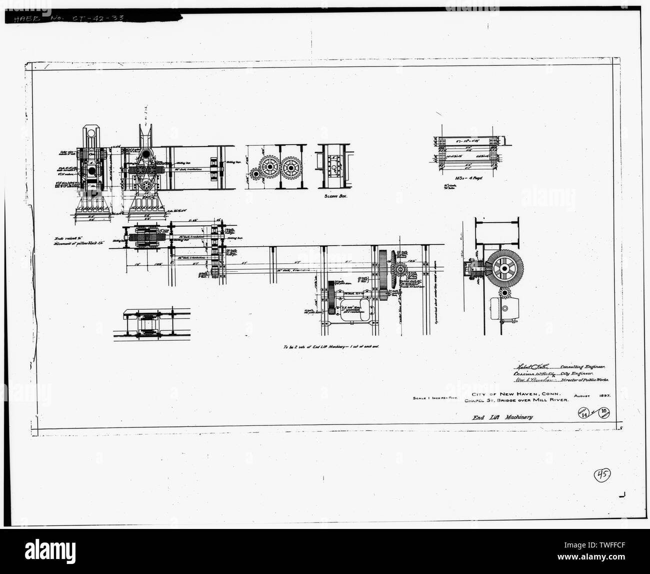 PLAN SHEET - END LIFT MACHINERY (1897) - Chapel Street Swing Bridge, Spanning Mill River on Chapel Street, New Haven, New Haven County, CT - Stock Image