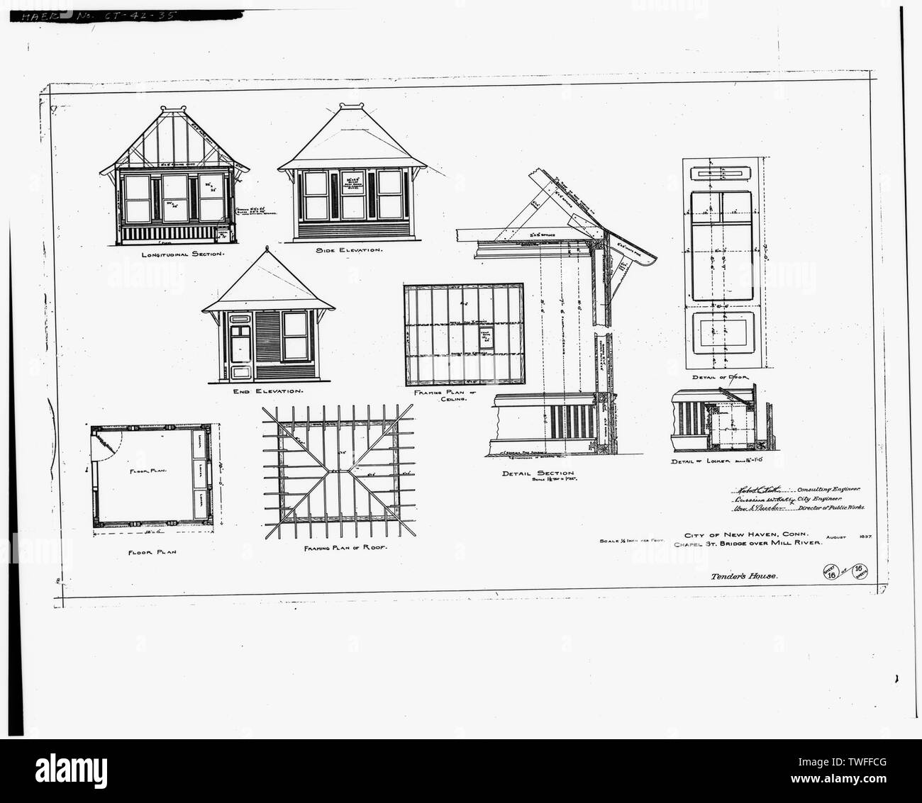 PLAN SHEET - TENDER HOUSE (1897) - Chapel Street Swing Bridge, Spanning Mill River on Chapel Street, New Haven, New Haven County, CT - Stock Image