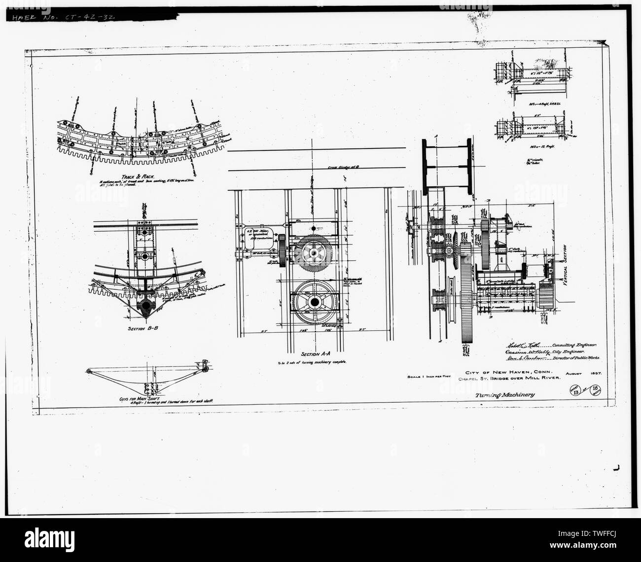 PLAN SHEET - TURNING MACHINERY (1897) - Chapel Street Swing Bridge, Spanning Mill River on Chapel Street, New Haven, New Haven County, CT - Stock Image