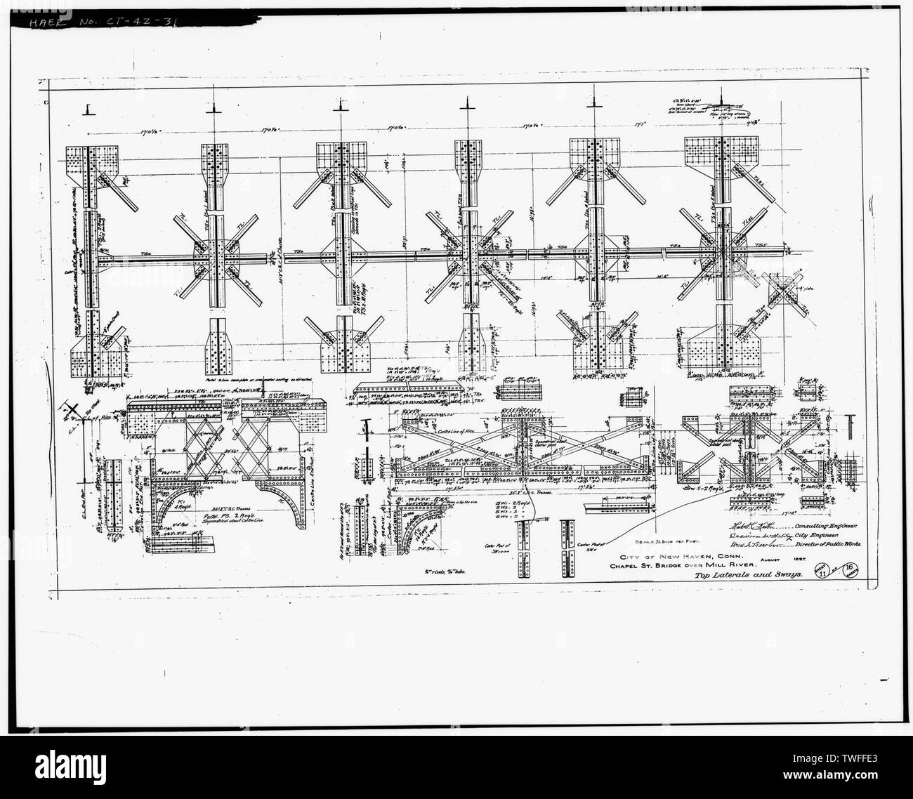PLAN SHEET - TOP LATERALS AND SWAYS (1897) - Chapel Street Swing Bridge, Spanning Mill River on Chapel Street, New Haven, New Haven County, CT - Stock Image