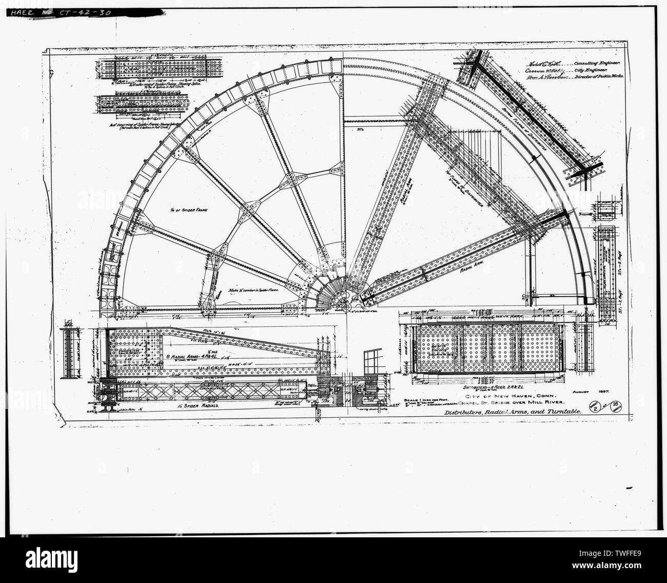 PLAN SHEET - DISTRIBUTERS, RADIAL ARMS AND TURNTABLE (1897) - Chapel Street Swing Bridge, Spanning Mill River on Chapel Street, New Haven, New Haven County, CT - Stock Image