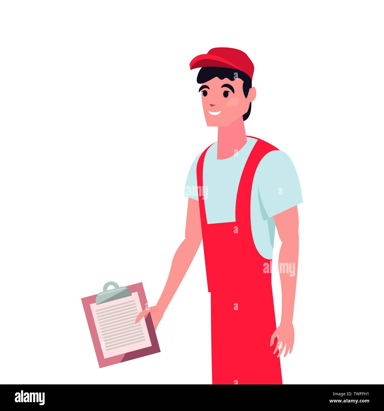 delivery man employee with clipboard vector illustration - Stock Image