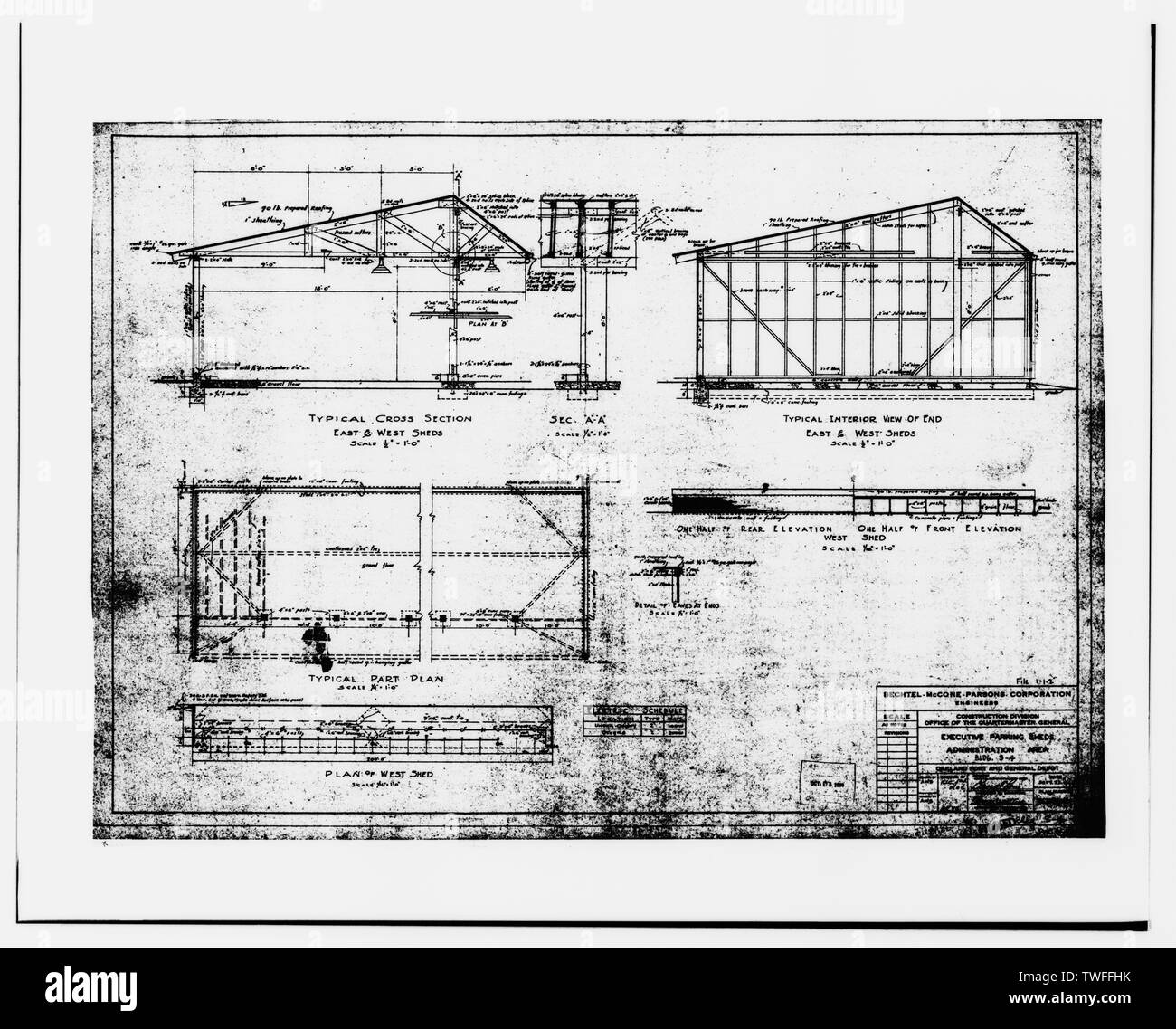 PLAN, ELEVATIONS, SECTIONS, SHEET NO. 7052-106.110 OF 1. - Oakland Army Base, Private Vehicle Inspection Building, Africa Street and Bataan Avenue, Oakland, Alameda County, CA - Stock Image