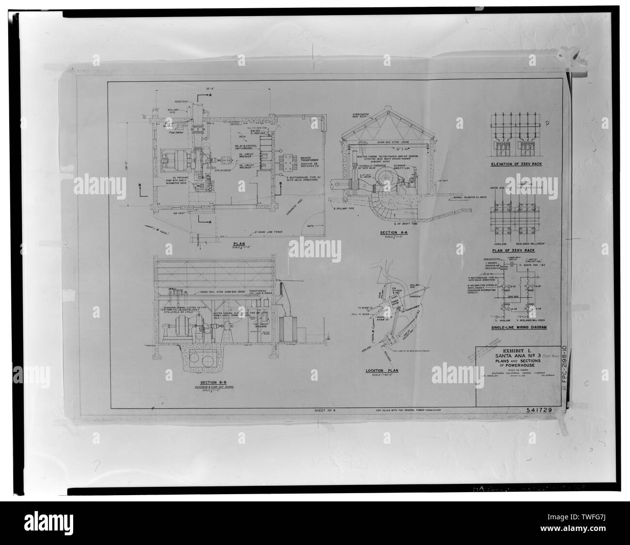 PLANS AND SECTIONS OF POWERHOUSE. SANTA ANA NO. 3, EXHIBIT L, JAN. 25, 1956 (SHEET 8; FOR FILING WITH FEDERAL POWER COMMISSION). SCE drawing no. 541729. - Santa Ana River Hydroelectric System, SAR-3 Powerhouse, San Bernardino National Forest, Redlands, San Bernardino County, CA - Stock Image