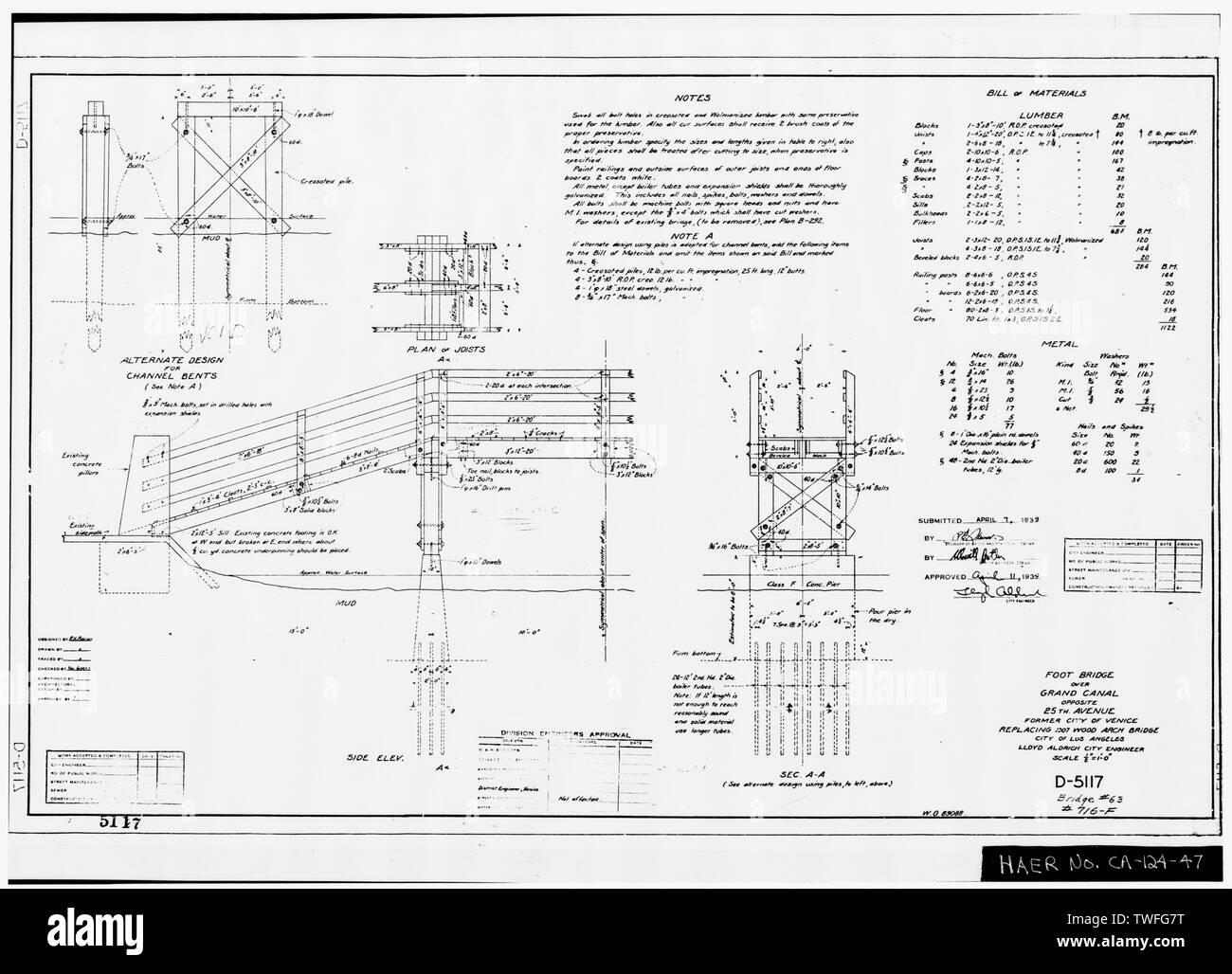 PLANS FOR EXISTING THREE-SPAN PEDESTRIAN BRIDGE OVER GRAND CANAL AT 25TH AVENUE Plan Sheet D-5117 (delineated by R. H. Bacon, April 1939) - Venice Canals, Community of Venice, Los Angeles, Los Angeles County, CA - Stock Image