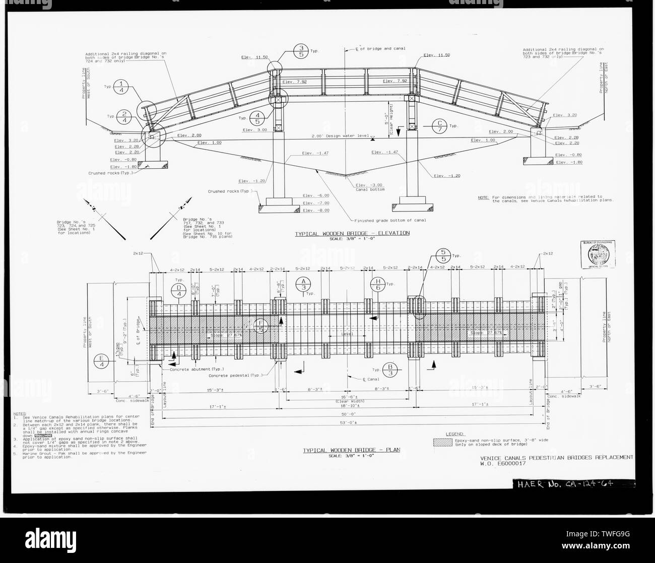 PLANS FOR PROPOSED TYPICAL WOODEN THREE-SPAN PEDESTRIAN BRIDGES Plan Sheet D-29887, Venice Canals Pedestrian Bridges Replacement, Sheet No. 2 of 14 (delineated by Manuel Bartolome, September 1989) - Venice Canals, Community of Venice, Los Angeles, Los Angeles County, CA - Stock Image
