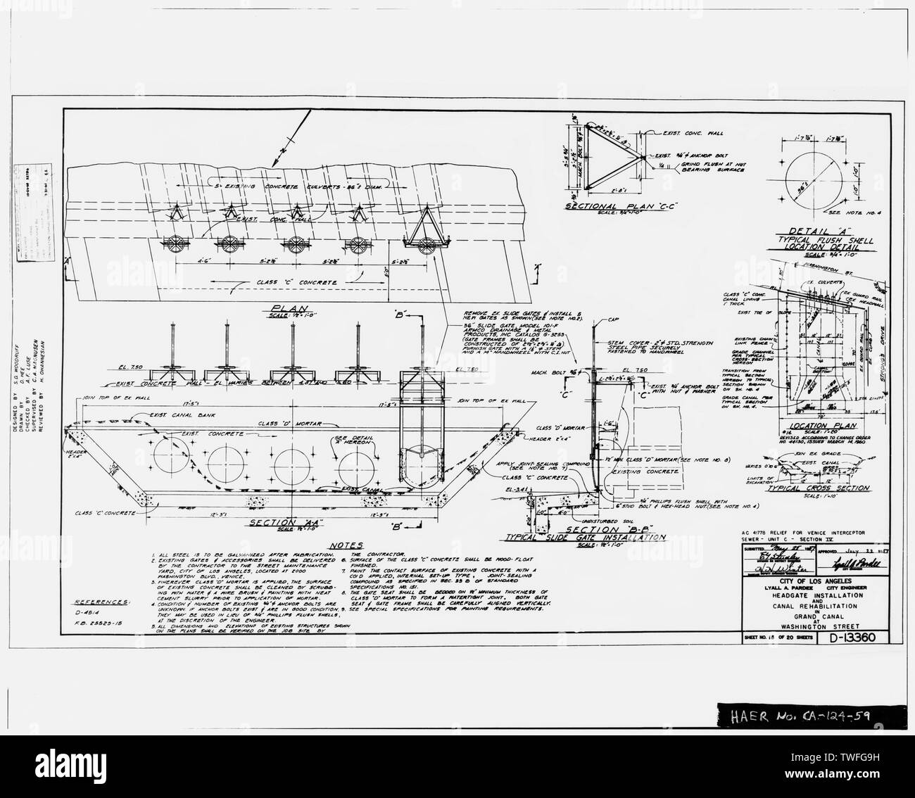 PLANS FOR HEADGATE INSTALLATION IN GRAND CANAL AT WASHINGTON STREET Plan Sheet D-13360, Sheet No. 15 of 20 (delineated by D. Hee, May 1957) - Venice Canals, Community of Venice, Los Angeles, Los Angeles County, CA - Stock Image