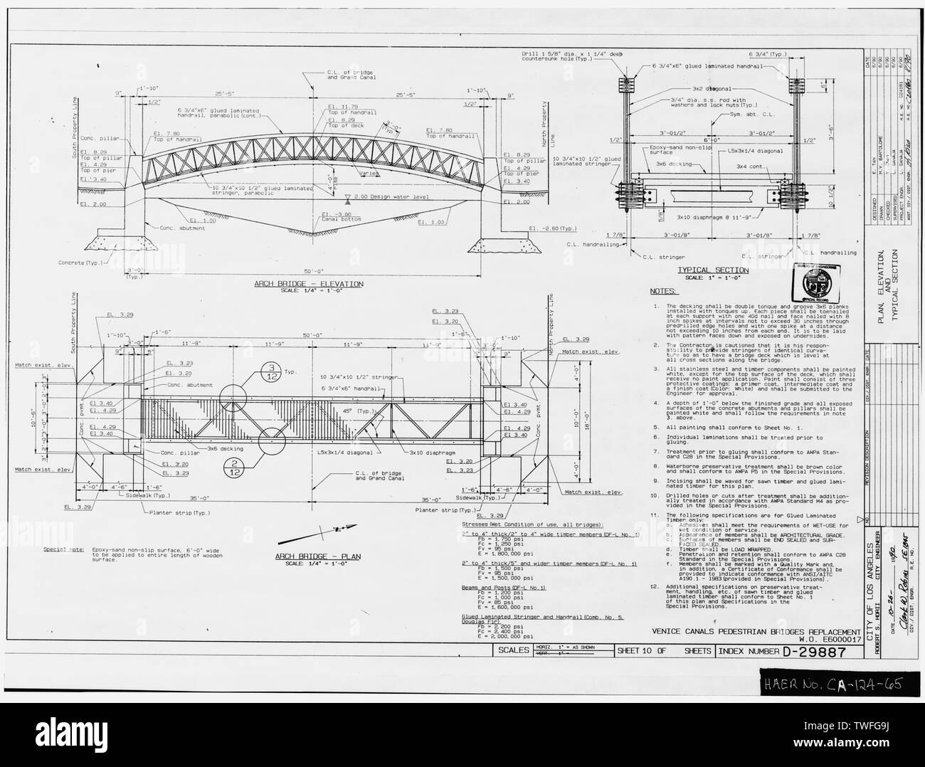 PLANS FOR PROPOSED ARCHED BRIDGE OVER GRAND CANAL AT 25TH AVENUE Plan Sheet D-29887, Venice Canals Pedestrian Bridges Replacement, Sheet No. 10 of 14 (delineated by Manuel Bartolome, June 1990) - Venice Canals, Community of Venice, Los Angeles, Los Angeles County, CA - Stock Image