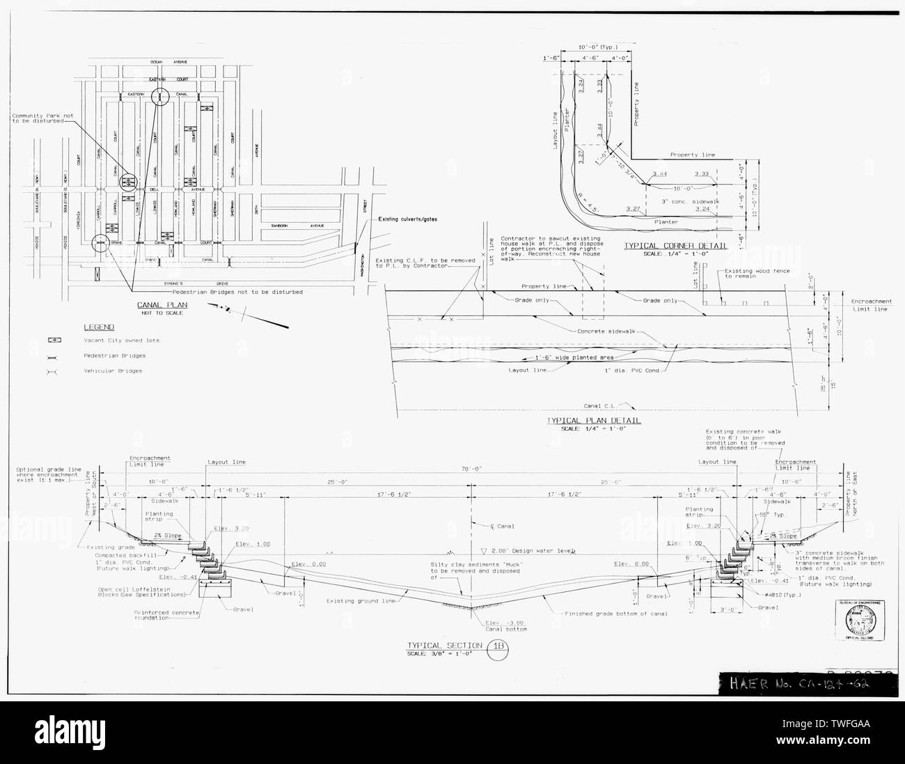 PLANS FOR PROPOSED LOFFELSTEIN BLOCK CONFIGURATION Plan Sheet D-29976, Venice Canals Rehabilitation, Sheet 3 of 26 (delineated by Manuel Bartolome, November 1990) - Venice Canals, Community of Venice, Los Angeles, Los Angeles County, CA - Stock Image