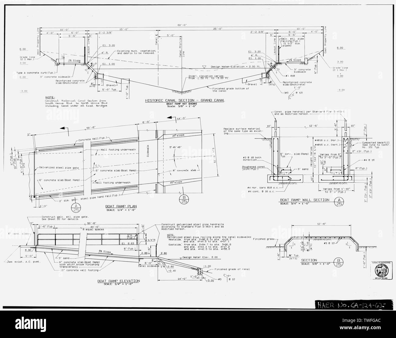PLANS FOR PROPOSED HISTORICAL CANAL SECTION AND PUBLIC BOAT LAUNCH RAMP Plan Sheet D-29976, Venice Canals Rehabilitation, Sheet 25 of 26 (delineated by Manuel Bartolome, November 1991) - Venice Canals, Community of Venice, Los Angeles, Los Angeles County, CA - Stock Image