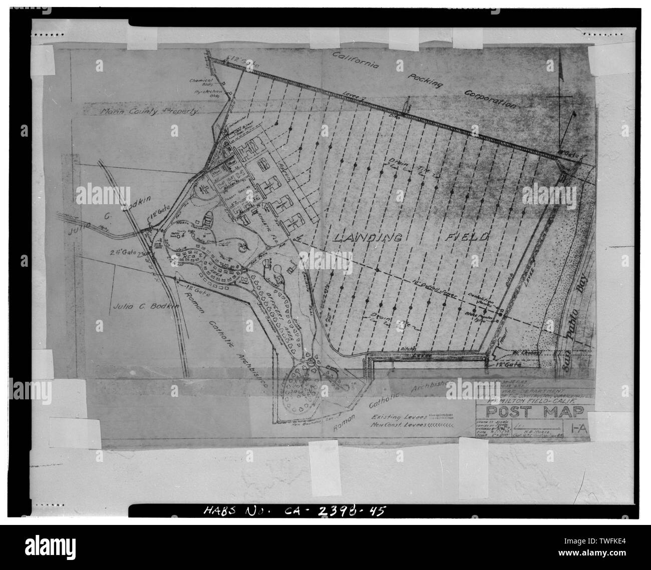 POST MAP. Xerox copy of original sketch map, scale one inch to 800 feet. Sheet 1-A, dated 3-12-32 - Hamilton Field, East of Nave Drive, Novato, Marin County, CA - Stock Image